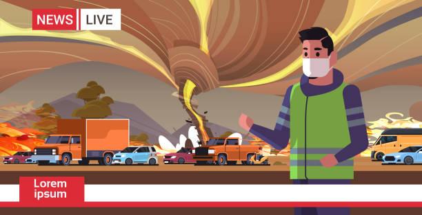 bildbanksillustrationer, clip art samt tecknat material och ikoner med breaking news man reporter i mask live brodcasting bush fire torra woods brinnande träd globala uppvärmningen naturkatastrof ekologi problem koncept porträtt horisontell - skog brand