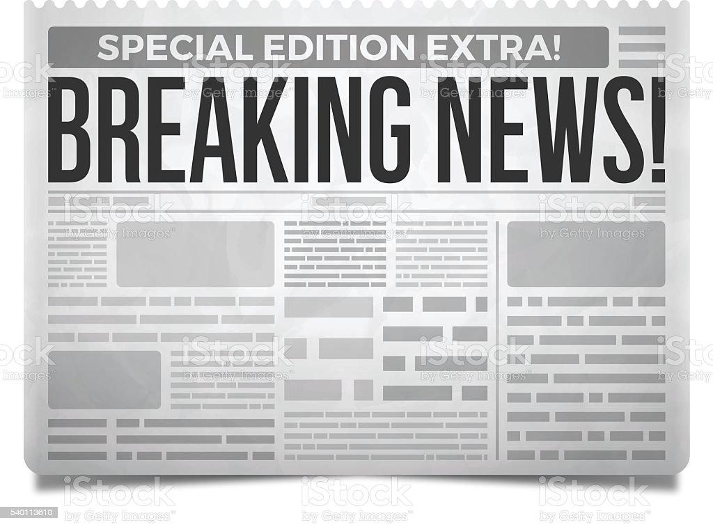 Breaking News Newspaper vector art illustration