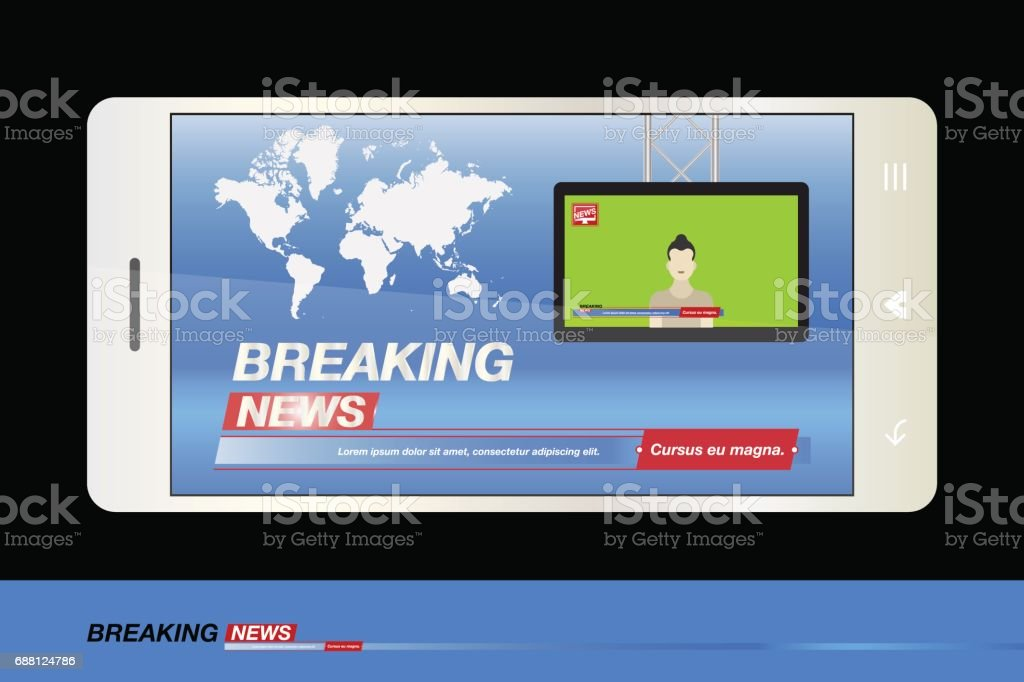 Breaking News On Smartphone With Background Of The World Map Modern