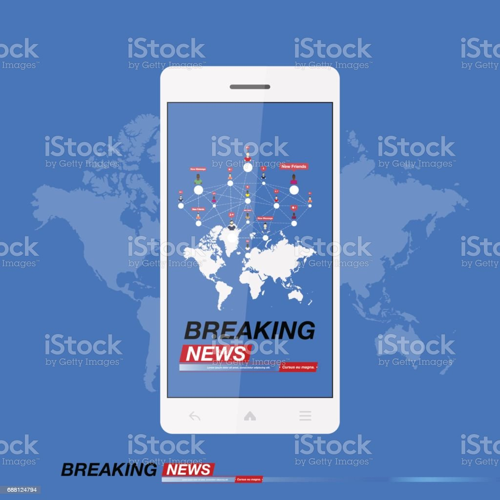Breaking News On Smartphone With Background Of The World Map Modern Mobile TV Vector