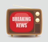 Vector Illustration of a Vintage TV Broadcasting Breaking News