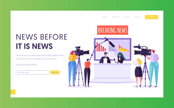stockillustraties, clipart, cartoons en iconen met breaking news programma concept landing page. videographer met camera shoot in televisie studio. reporter karakter lees tekst zittend op bureau website of webpagina. platte cartoon vector illustratie - perskamer
