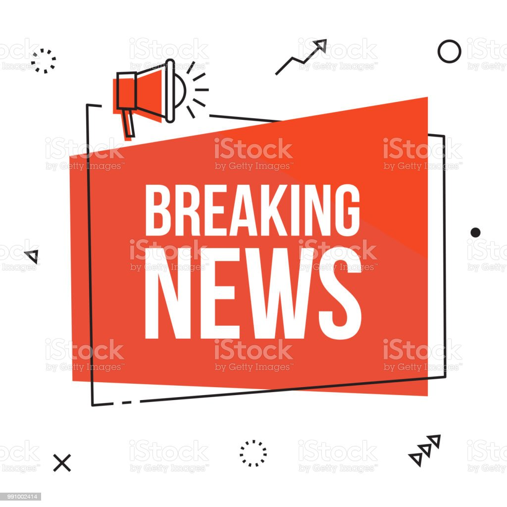 Breaking news. Red flat vector web banner. Breaking news, vector red sign illustration isolated on white background with loudspeaker, new label design for articles. Business  advertising web icons, promotion announce tag, sticker, announcement Advertisement stock vector