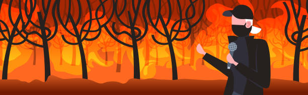 bildbanksillustrationer, clip art samt tecknat material och ikoner med breaking nyhetsreporter i mask prata med mikrofon bushfire global warming naturkatastrof concept farlig wildfire utveckling torra träslag brinnande träd porträtt horisontellt - skog brand
