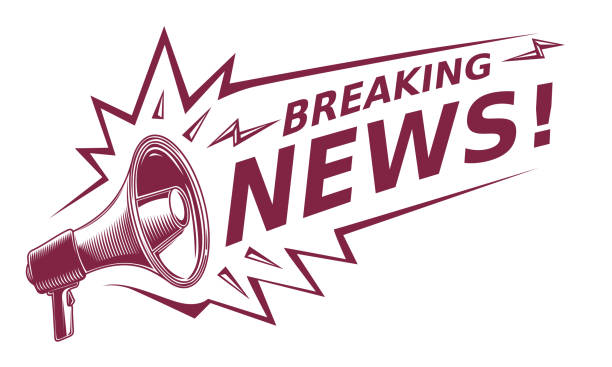 Breaking news - sign with megaphone decorative vector artwork newspaper stock illustrations