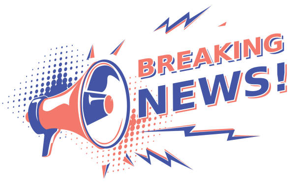 Breaking news - sign with megaphone decorative vector artwork showing off stock illustrations