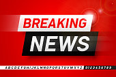 Breaking news style font design, lphabet letters and numbers vector illustration