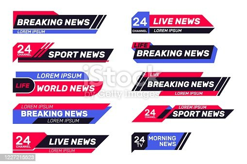 Breaking news TV banners set. Lower header, channel name or emblem with text, third part bottom line. Flat vector illustrations for television, broadcasting, video content concept