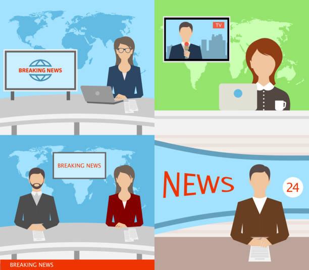 stockillustraties, clipart, cartoons en iconen met breaking news-tv, speakers, verslaggevers, presentatoren, anchormans, commentatoren - journaal presentator