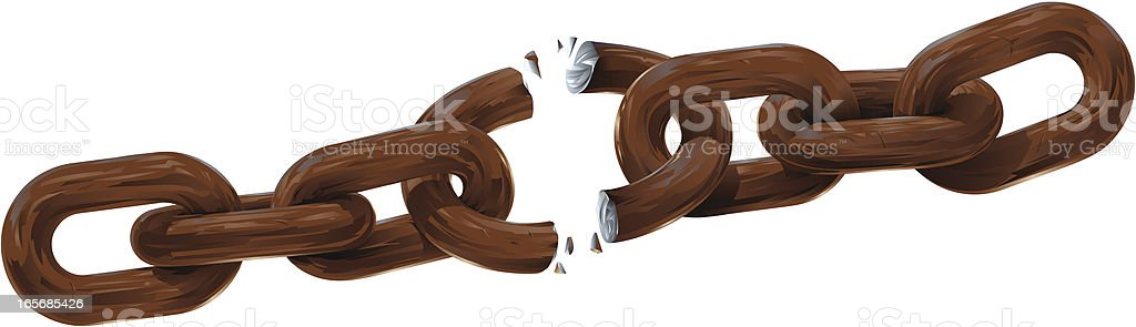 Breaking Rusty Chain on White Background royalty-free breaking rusty chain on white background stock vector art & more images of breaking