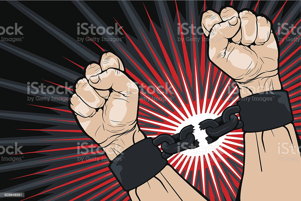 Breaking the bonds for freedom vector art illustration