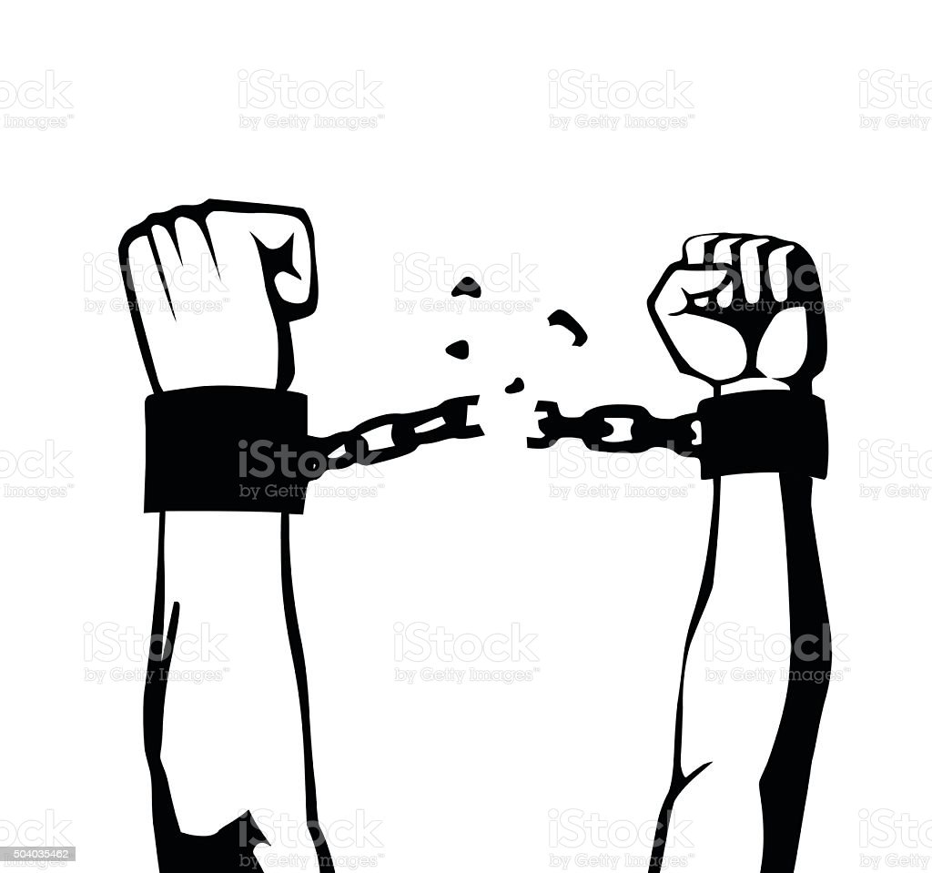 breaking the chain isolated vector art illustration