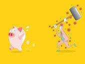 Breaking the piggy bank, vector illustration. EPS 10.