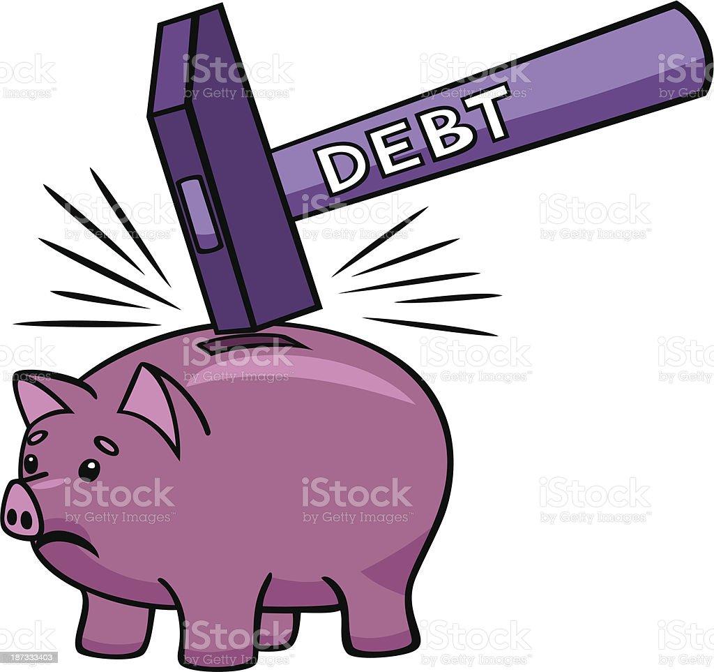 Breaking the piggy bank. royalty-free stock vector art