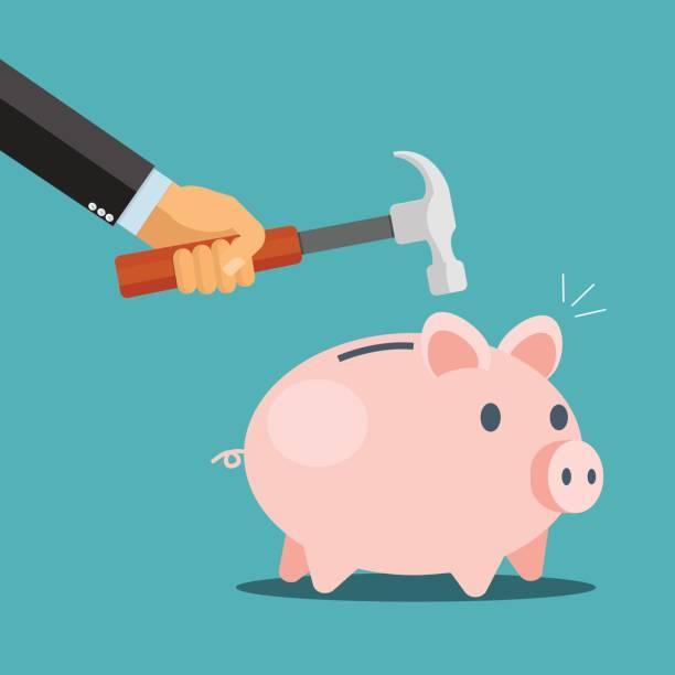 Breaking the piggy bank - vector illustration Breaking the piggy bank - vector illustration piggy bank stock illustrations