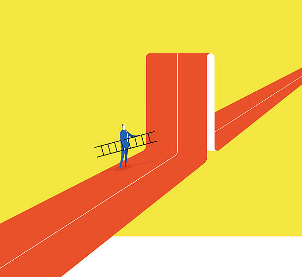 Breaking the status A businessman hold a ladder, he tried to break through barriers to move forward inconvenience stock illustrations