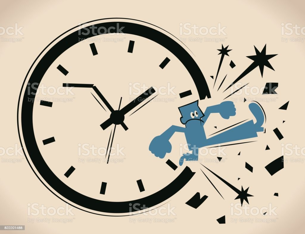 Breaking the time pressure. Businessman (man) breaking through a clock face. Concept about: break the routine ; break the cycle vector art illustration
