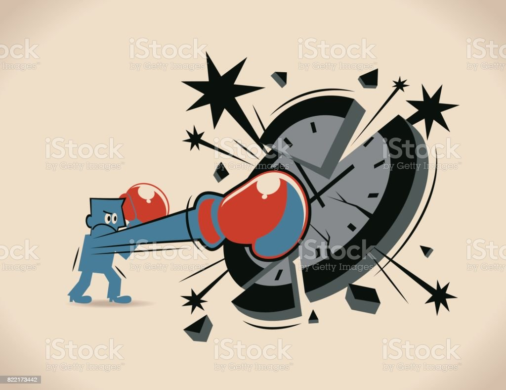 Breaking the time pressure. Businessman (boxer, man) with boxing glove (fist), punching (hitting, breaking) a clock face vector art illustration