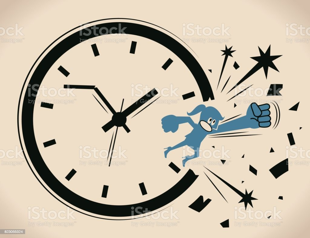 Breaking the time pressure. Businesswoman (woman, girl) breaking through a clock face. Concept about: break the routine ; break the cycle vector art illustration