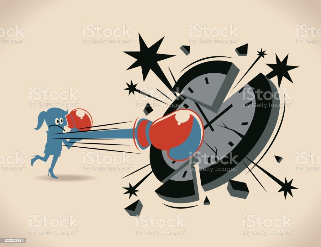 Breaking the time pressure. Businesswoman (woman, girl, boxer) with boxing glove (fist), punching (hitting, breaking) a clock face vector art illustration