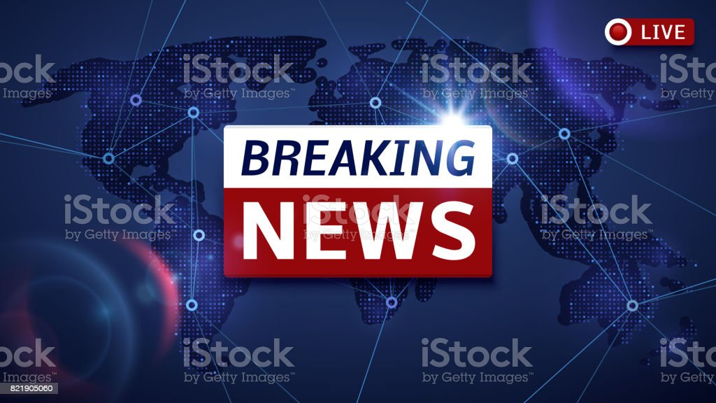 Breaking world news live vector tv background and internet video stream concept vector art illustration