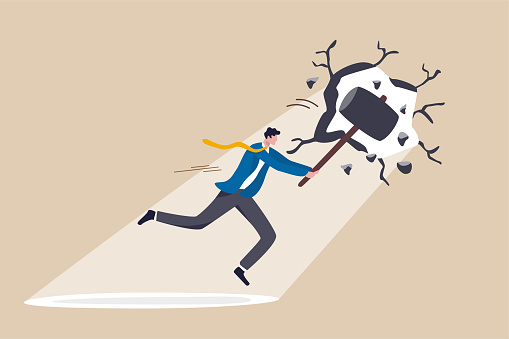 Breakthrough business boundary or limit, breaking the wall to see new work opportunities or career challenge concept, superpower businessman crack or breaking the wall with hammer to see light outside