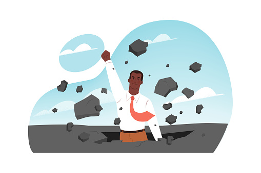 Breakthrough, leadership, business success, startup concept