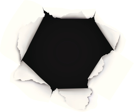 Breakthrough Paper Hole on white background.