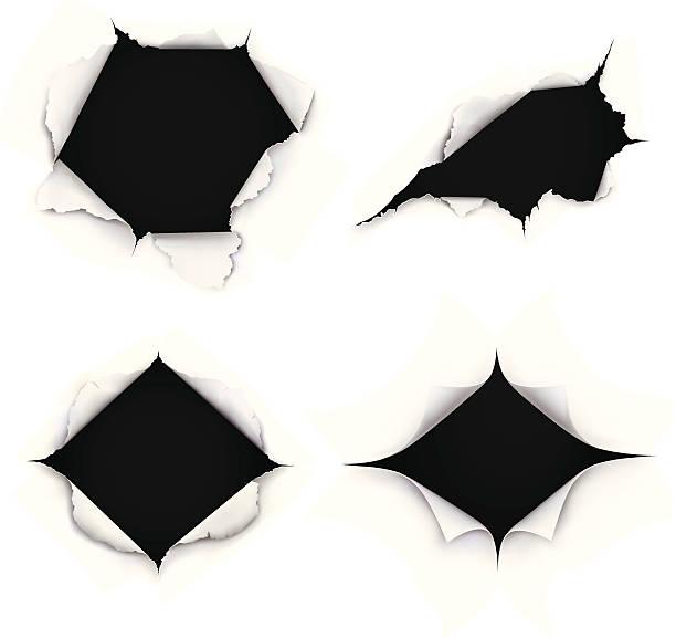 bildbanksillustrationer, clip art samt tecknat material och ikoner med breakthrough paper holes - hål