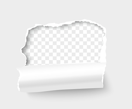 Torn white paper frame for text on transparent background. Breakthrough paper square with rolled side realistic vector illustration