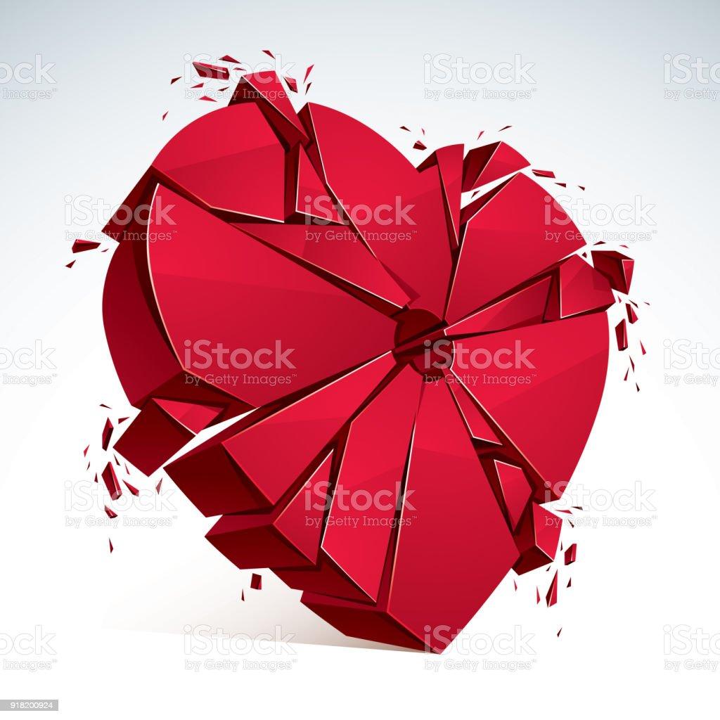 Breakup concept of broken heart 3d realistic vector illustration breakup concept of broken heart 3d realistic vector illustration of heart symbol exploding to pieces buycottarizona