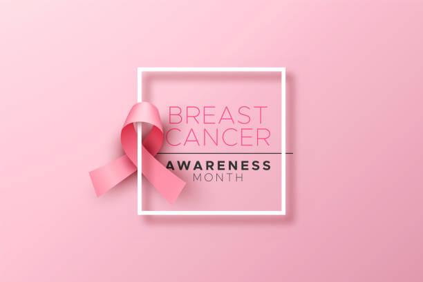 stockillustraties, clipart, cartoons en iconen met borstkanker bewustzijn 3d roze satijnen lint frame - breast cancer