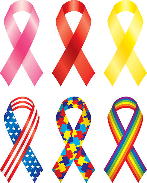 Breast cancer awareness and other colorful ribbons vector art illustration