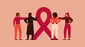 Breast cancer awareness and prevention month banner. Four women stand together near pink ribbon. The concept of support and solidarity with females fighting oncological disease. Vector illustration.