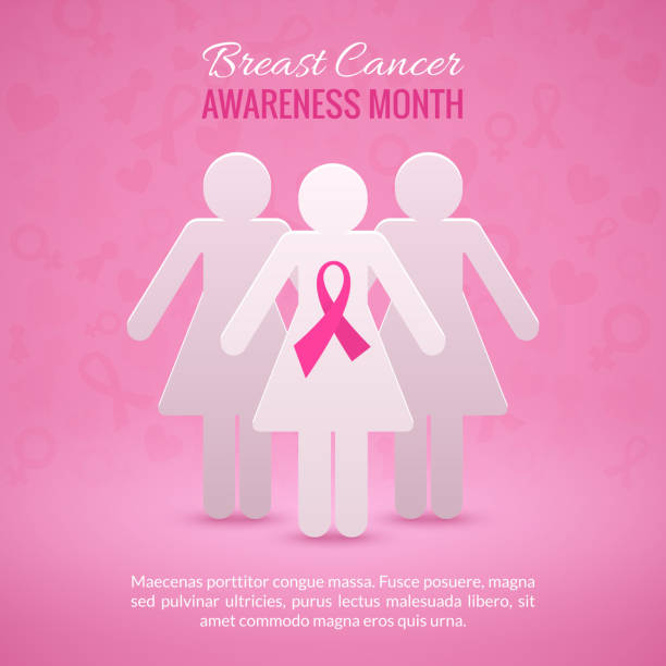 Breast Cancer Awareness Background Breast Cancer October Awareness Month Campaign Background with paper girl silhouettes and pink ribbon symbol. Vector illustration breast stock illustrations