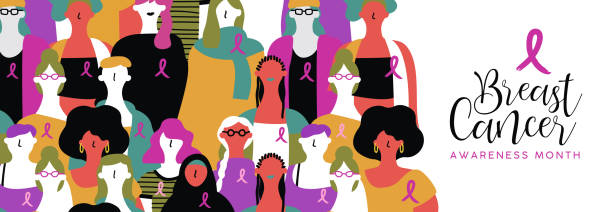Breast Cancer awareness banner of diverse women Breast Cancer awareness month banner illustration of diverse ethnic women group with pink support ribbon. Woman march or parade concept for prevention campaign. breast cancer awareness stock illustrations