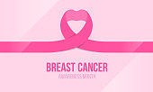 istock Breast cancer awareness banner with pink ribbon heart roll sign vectordesign 1322279311
