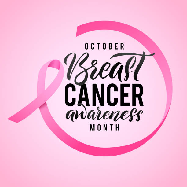 Breast Cancer Awareness Calligraphy Poster Design. Ribbon around letters. Vector Stroke Pink Ribbon. October is Cancer Awareness Month Breast Cancer Awareness Calligraphy Poster Design. Ribbon around letters. Vector Stroke Pink Ribbon. October is Cancer Awareness Month. breast stock illustrations