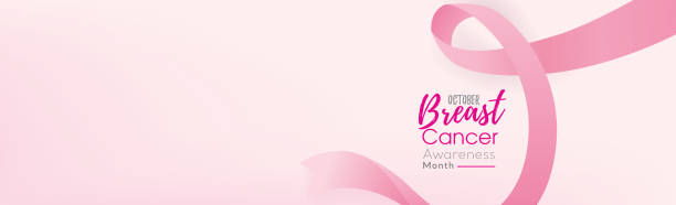 breast cancer awareness campaign banner background with pink ribbon - breast cancer awareness stock illustrations