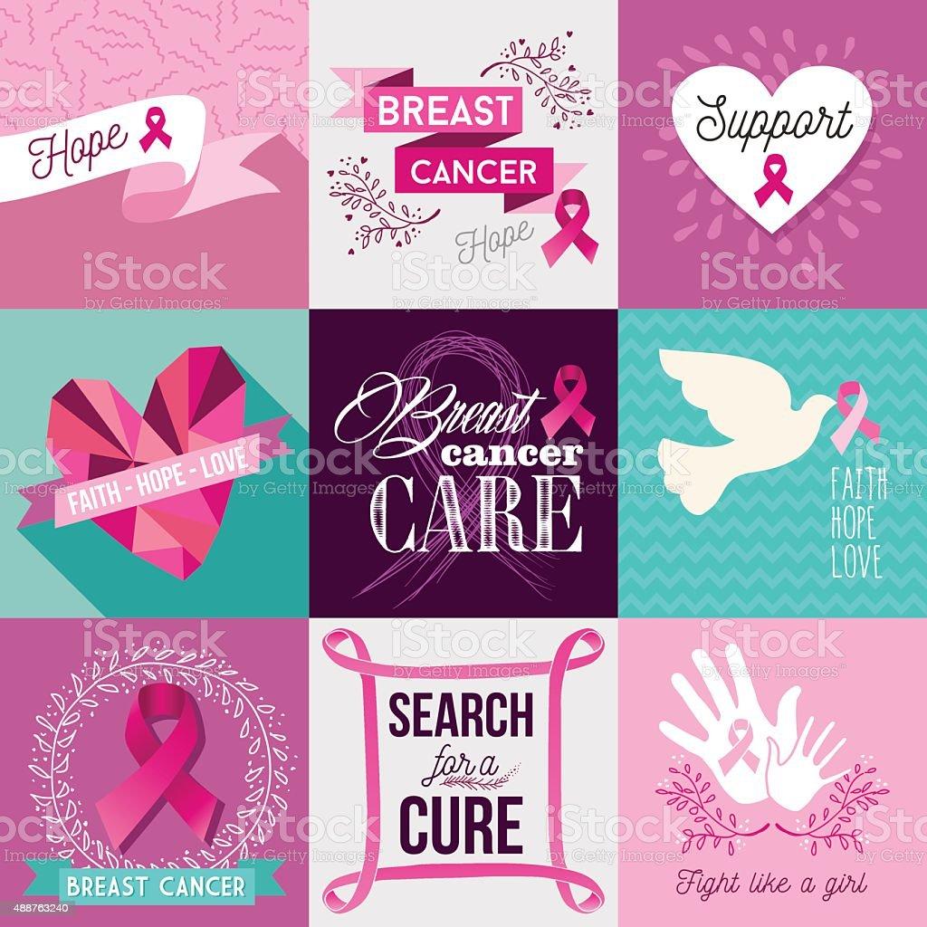 Breast cancer awareness campaign flat design set vector art illustration