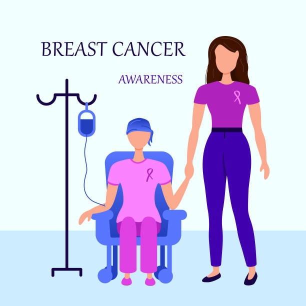 breast cancer awareness chemotherapy clinic aid concept - breast cancer awareness stock illustrations