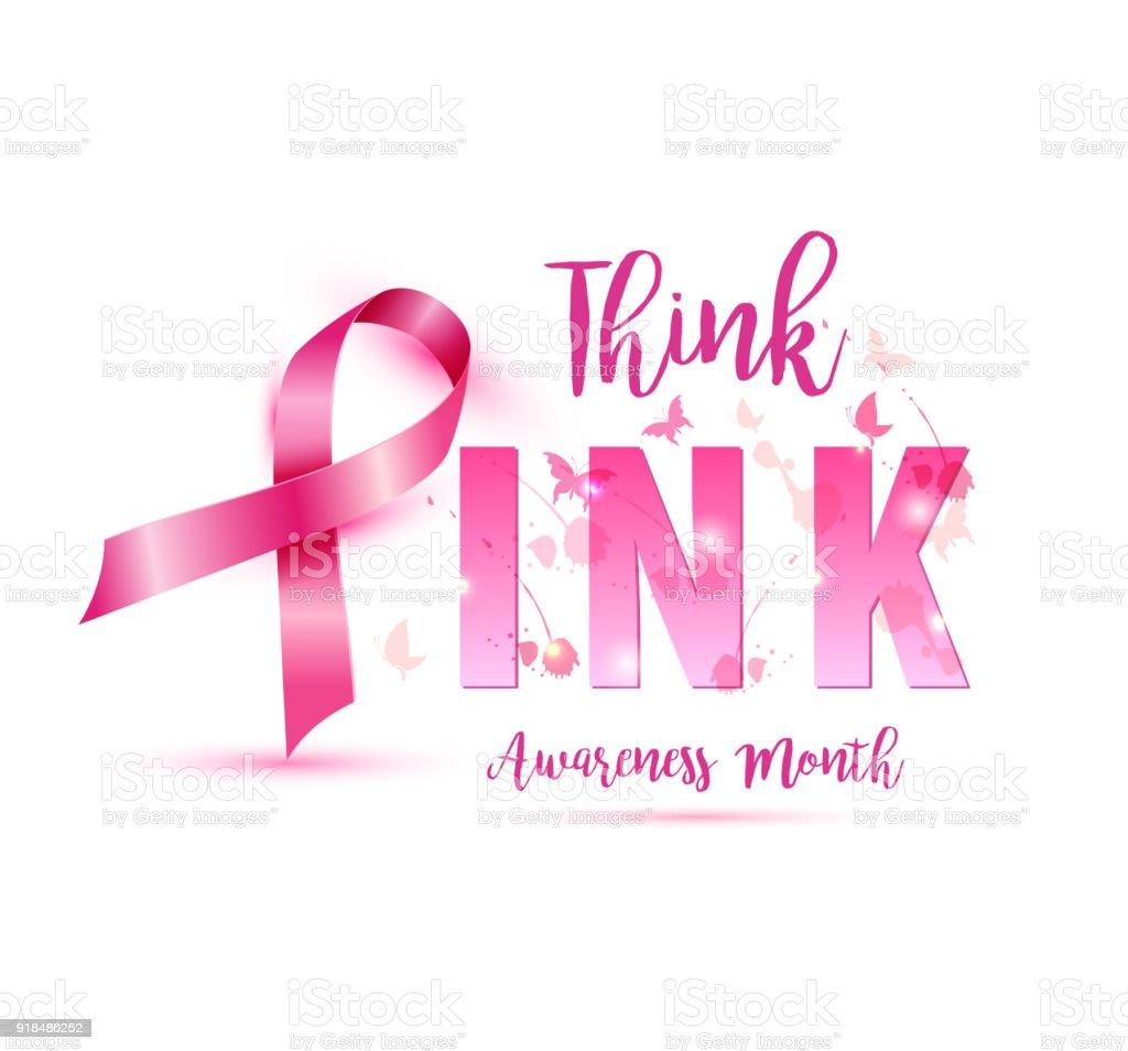 Breast Cancer Awareness Concept Illustration Pink Ribbon Symbol Pink
