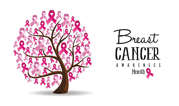 breast cancer awareness concept ribbon tree design - breast cancer awareness stock illustrations