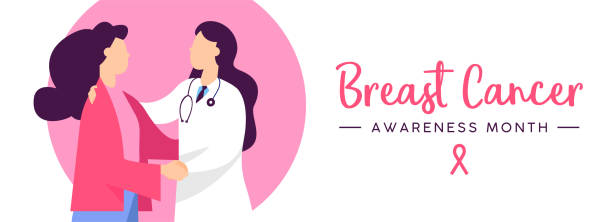 illustrazioni stock, clip art, cartoni animati e icone di tendenza di breast cancer awareness health concept banner - paziente