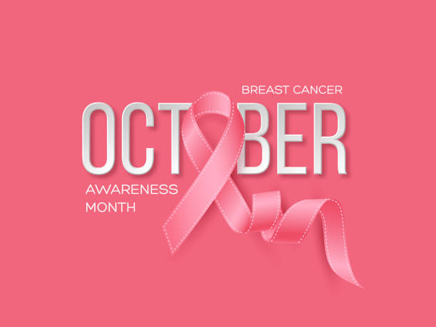 Breast cancer awareness month background. Realistic pink ribbon with 3d text, vector illustration Breast cancer awareness month background. Realistic pink ribbon with 3d text. Vector illustration breast stock illustrations
