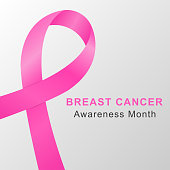 Breast cancer awareness month background with pink ribbon. Vector.