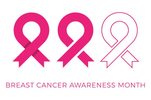 ilustrações, clipart, desenhos animados e ícones de câncer de mama consciência mês banner layout de design com fita rosa e texto para cartões, cartazes, convites, brochuras - pink october