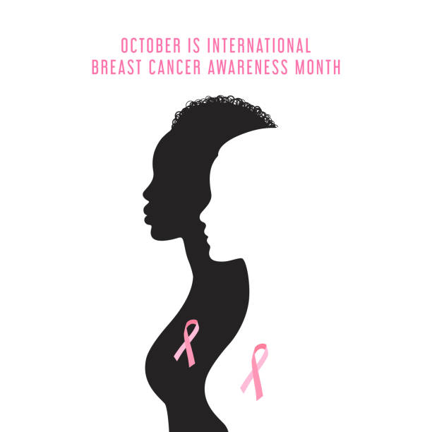 Breast cancer awareness month card White and black silhouettes of woman with text October is international Breast cancer awareness month. Black women and white women with pink ribbons. breast stock illustrations