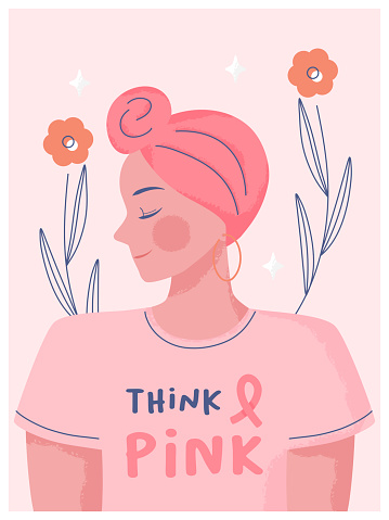 Breast cancer awareness month concept. Hand drawn Woman wearing turbans and wear pink clothes with text space think pink background poster illustration.