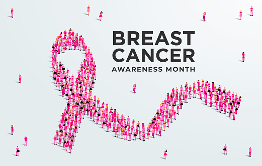 Breast cancer awareness month concept poster. Large group of people form to create a pink ribbon. Vector illustration.